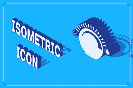 Isometric Thermostat icon isolated on blue background. Temperature control. Vector Illustration