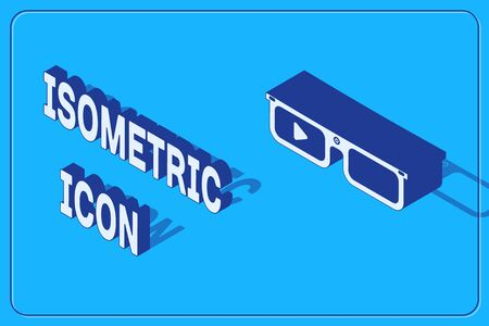 Isometric Smart glasses mounted on spectacles icon isolated on blue background. Wearable electronics smart glasses with camera and display.  Vector Illustration
