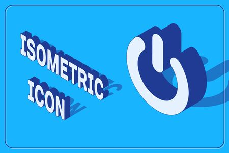 Isometric Power button icon isolated on blue background. Start sign. Vector Illustration