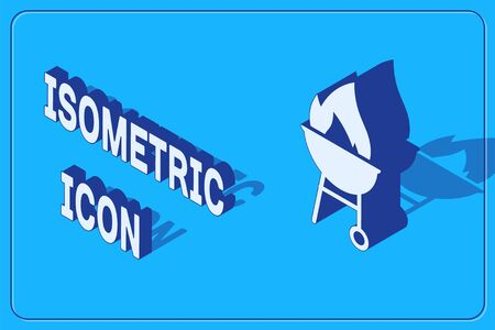 Isometric Barbecue grill icon isolated on blue background. BBQ grill party. Vector Illustration