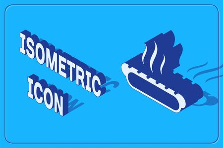 Isometric Hotdog sandwich with mustard icon isolated on blue background. Sausage icon. Fast food sign. Vector Illustration