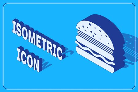 Isometric Burger icon isolated on blue background. Hamburger icon. Cheeseburger sandwich sign. Vector Illustration
