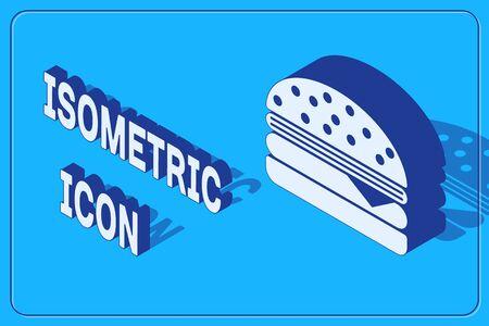Isometric Burger icon isolated on blue background. Hamburger icon. Cheeseburger sandwich sign.  Vector Illustration