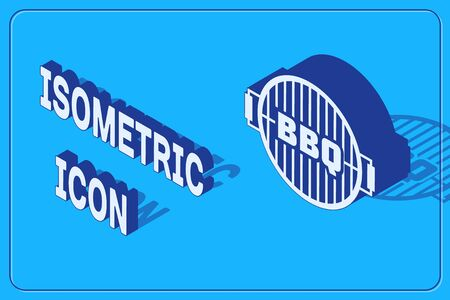 Isometric Barbecue grill icon isolated on blue background. Top view of BBQ grill. Steel grid.  Vector Illustration Ilustracja