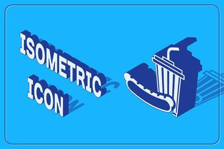 Isometric Soda and hotdog icon isolated on blue background. Fast food symbol. Vector Illustration