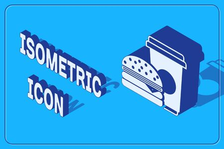 Isometric Coffee and burger icon isolated on blue background. Fast food symbol. Vector Illustration