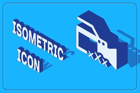 Isometric Video camera with inscription XXX icon isolated on blue background. Age restriction symbol. 18 plus content sign. Adult channel. Vector Illustration