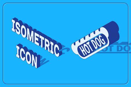 Isometric Hotdog sandwich icon isolated on blue background. Sausage icon. Fast food sign. Vector Illustration  イラスト・ベクター素材