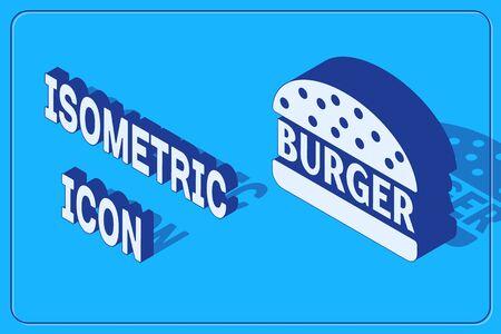 Isometric Burger icon isolated on blue background. Hamburger icon. Cheeseburger sandwich sign. Vector Illustration  イラスト・ベクター素材