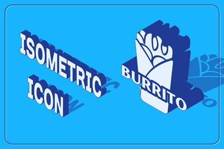 Isometric Burrito icon isolated on blue background. Traditional mexican fast food. Vector Illustration