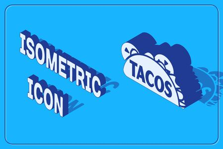 Isometric Taco with tortilla icon isolated on blue background. Traditional mexican fast food. Vector Illustration