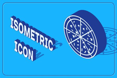 Isometric Pizza icon isolated on blue background. Vector Illustration Иллюстрация