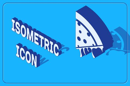 Isometric Slice of pizza icon isolated on blue background. Vector Illustration