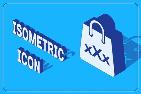 Isometric Shopping bag with a triple X icon isolated on blue background. Vector Illustration