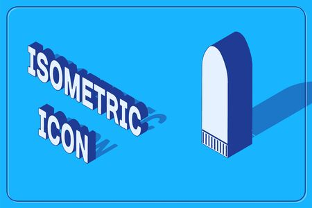 Isometric Dildo vibrator for sex games icon isolated on blue background. Sex toy for adult. Vaginal exercise machines for intimate. Vector Illustration Stock Illustratie