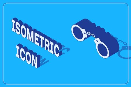 Isometric Handcuffs icon isolated on blue background. Vector Illustration