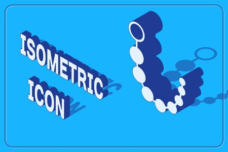 Isometric Anal beads icon isolated on blue background. Anal balls sign. Fetish accessory. Sex toy for men and woman. Vector Illustration Stock Illustratie