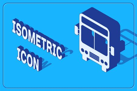 Isometric Bus icon isolated on blue background. Transportation concept. Bus tour transport sign. Tourism or public vehicle symbol. Vector Illustration