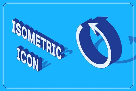 Isometric Refresh icon isolated on blue background. Reload symbol. Rotation arrow in a circle sign. Vector Illustration