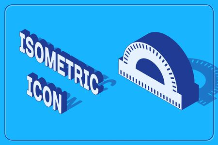 Isometric Protractor grid for measuring degrees icon isolated on blue background. Tilt angle meter. Measuring tool. Geometric symbol. Vector Illustration 向量圖像
