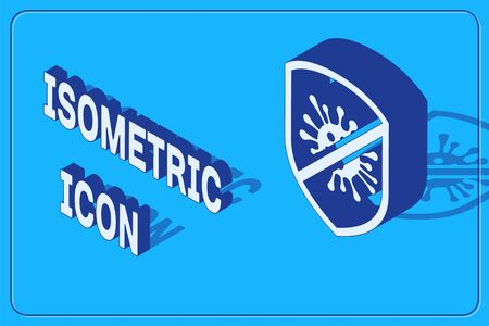 Isometric Stop virus, bacteria, germs and microbe icon isolated on blue background. Antibacterial and antiviral defence, protection infection. Vector Illustration