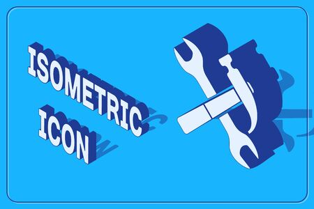 Isometric Crossed hammer and wrench icon isolated on blue background. Hardware tools. Vector Illustration Illustration