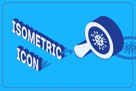 Isometric Microorganisms under magnifier icon isolated on blue background. Bacteria and germs, cell cancer, microbe, virus, fungi. Vector Illustration Illustration