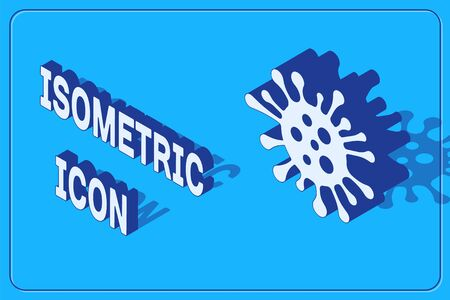 Isometric Bacteria icon isolated on blue background. Bacteria and germs, microorganism disease causing, cell cancer, microbe, virus, fungi. Vector Illustration Illustration