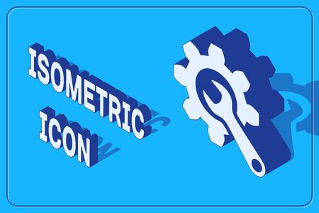 Isometric Wrench and gear icon isolated on blue background. Adjusting, service, setting, maintenance, repair, fixing. Vector Illustration