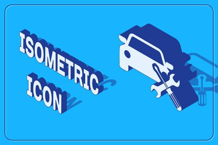 Isometric Car with screwdriver and wrench icon isolated on blue background. Adjusting, service, setting, maintenance, repair, fixing. Vector Illustration
