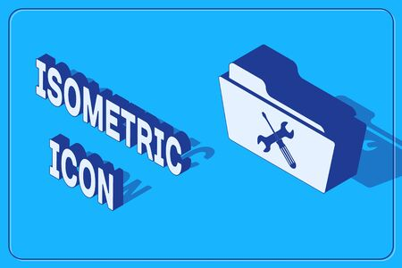 Isometric Folder with screwdriver and wrench icon isolated on blue background. Adjusting, service, setting, maintenance, repair, fixing. Vector Illustration