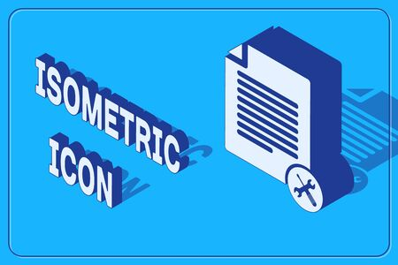 Isometric File document with screwdriver and wrench icon isolated on blue background. Adjusting, service, setting, maintenance, repair, fixing. Vector Illustration