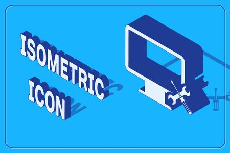Isometric Computer monitor with screwdriver and wrench icon isolated on blue background. Adjusting, service, setting, maintenance, repair, fixing. Vector Illustration Illusztráció