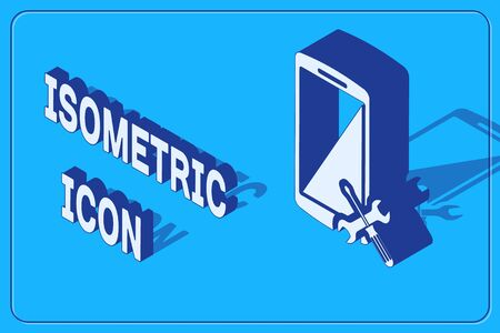 Isometric Smartphone with screwdriver and wrench icon isolated on blue background. Adjusting, service, setting, maintenance, repair, fixing. Vector Illustration