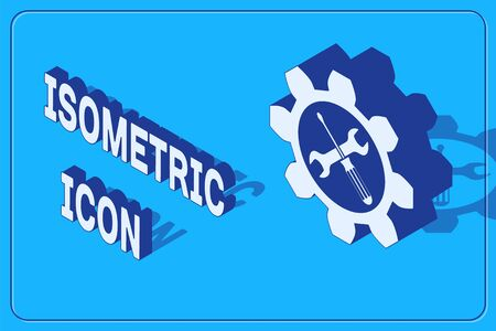 Isometric Maintenance symbol - wrench and screwdriver in gear icon isolated on blue background. Service tool symbol. Vector Illustration
