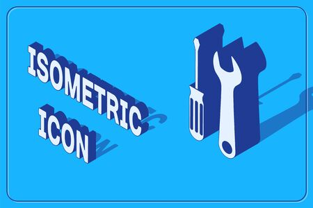 Isometric Screwdriver and wrench tools icon isolated on blue background. Service tool symbol. Vector Illustration