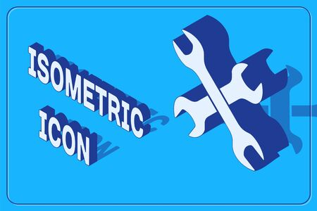 Isometric Crossed wrenchs icon isolated on blue background. Spanner repair tool. Service tool symbol. Vector Illustration Illustration