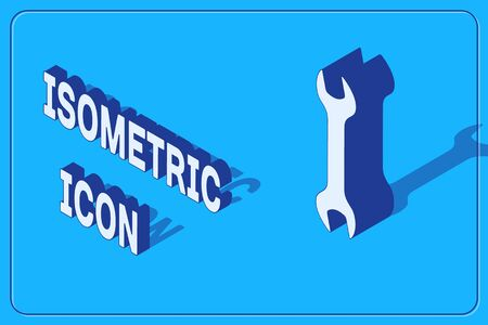 Isometric Wrench icon isolated on blue background. Spanner repair tool. Service tool symbol. Vector Illustration