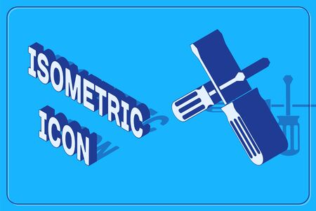 Isometric Crossed screwdrivers icon isolated on blue background. Service tool symbol. Vector Illustration Illustration