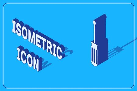 Isometric Screwdriver icon isolated on blue background. Service tool symbol. Vector Illustration