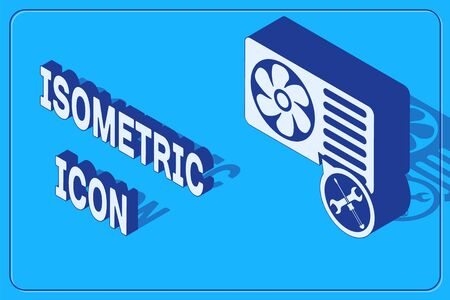 Isometric Air conditioner with screwdriver and wrench icon isolated on blue background. Adjusting, service, setting, maintenance, repair, fixing. Vector Illustration 일러스트
