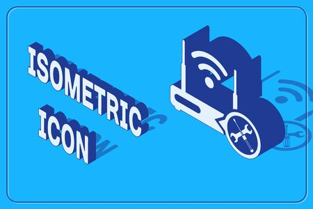 Isometric Router wi-fi with screwdriver and wrench icon isolated on blue background. Adjusting, service, setting, maintenance, repair, fixing. Vector Illustration