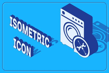 Isometric Washer with screwdriver and wrench icon isolated on blue background. Adjusting, service, setting, maintenance, repair, fixing. Vector Illustration