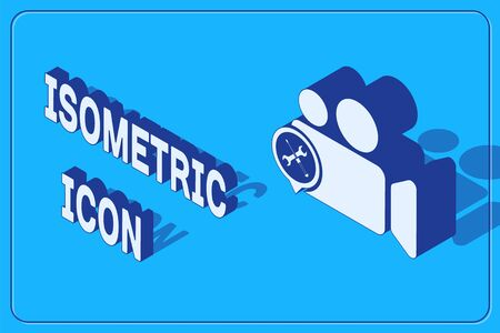 Isometric Video camera with screwdriver and wrench icon isolated on blue background. Adjusting, service, setting, maintenance, repair, fixing. Vector Illustration 向量圖像
