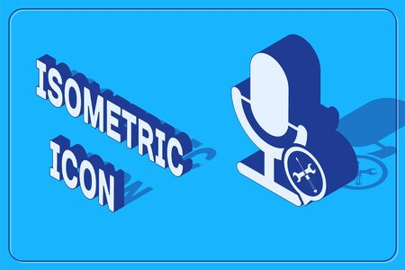 Isometric Microphone with screwdriver and wrench icon isolated on blue background. Adjusting, service, setting, maintenance, repair, fixing. Vector Illustration