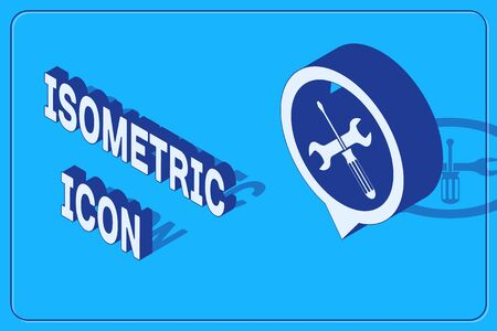 Isometric Location with crossed screwdriver and wrench tools icon isolated on blue background. Pointer settings symbol. Vector Illustration