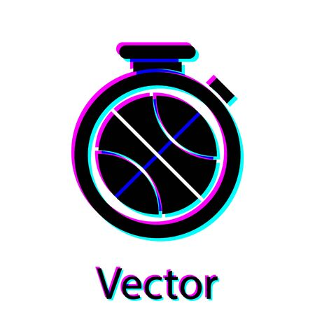 Black Stopwatch with basketball ball inside icon isolated on white background. Basketball time. Sport and training. Vector Illustration Çizim