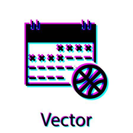 Black Basketball on sport calendar icon isolated on white background. Vector Illustration  イラスト・ベクター素材