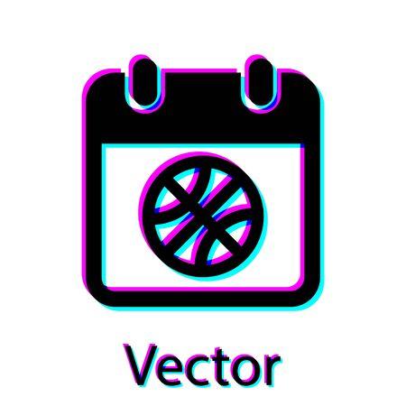 Black Basketball on sport calendar icon isolated on white background. Vector Illustration Stok Fotoğraf - 134762852