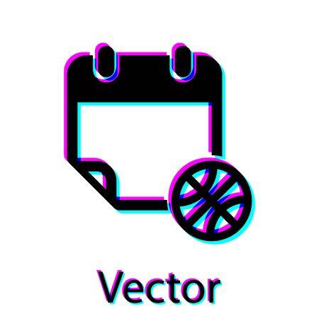 Black Basketball on sport calendar icon isolated on white background. Vector Illustration Stok Fotoğraf - 134762853
